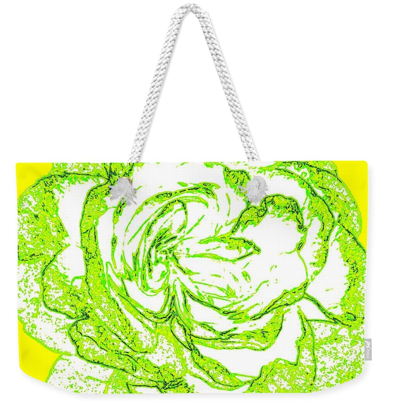 Abstract Weekender Tote Bag featuring the digital art The Cabbage Rose by Will Borden