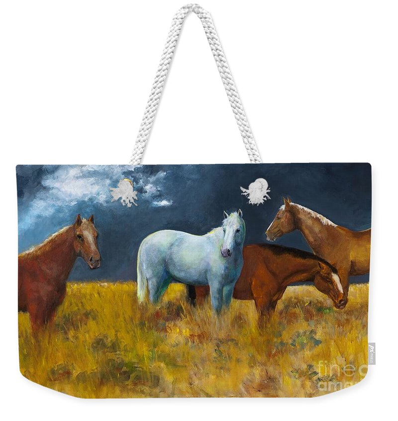Horses Weekender Tote Bag featuring the painting The Calm After The Storm by Frances Marino
