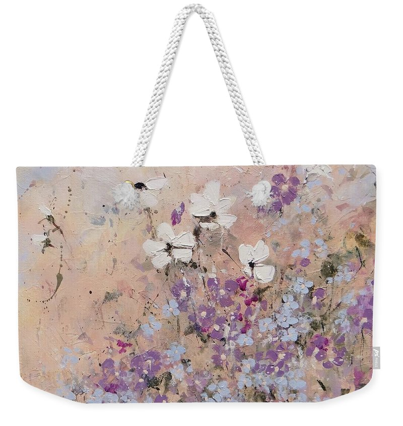 Flowers Weekender Tote Bag featuring the painting The Calming by Laura Lee Zanghetti