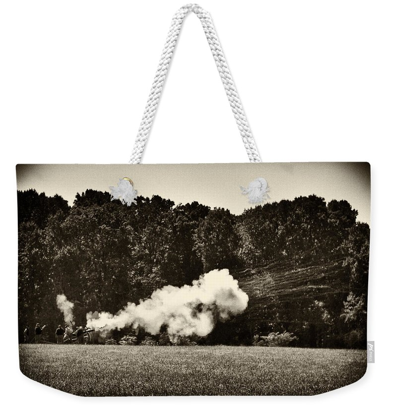Cannon Weekender Tote Bag featuring the photograph The Cannons' Thunder by Scott Wyatt