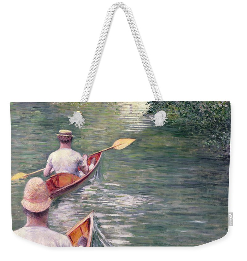 Rowing Weekender Tote Bag featuring the painting The Canoes by Gustave Caillebotte