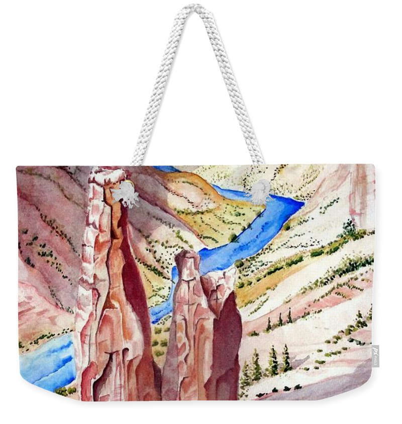 Canyon Weekender Tote Bag featuring the painting The Canyon by Jimmy Smith