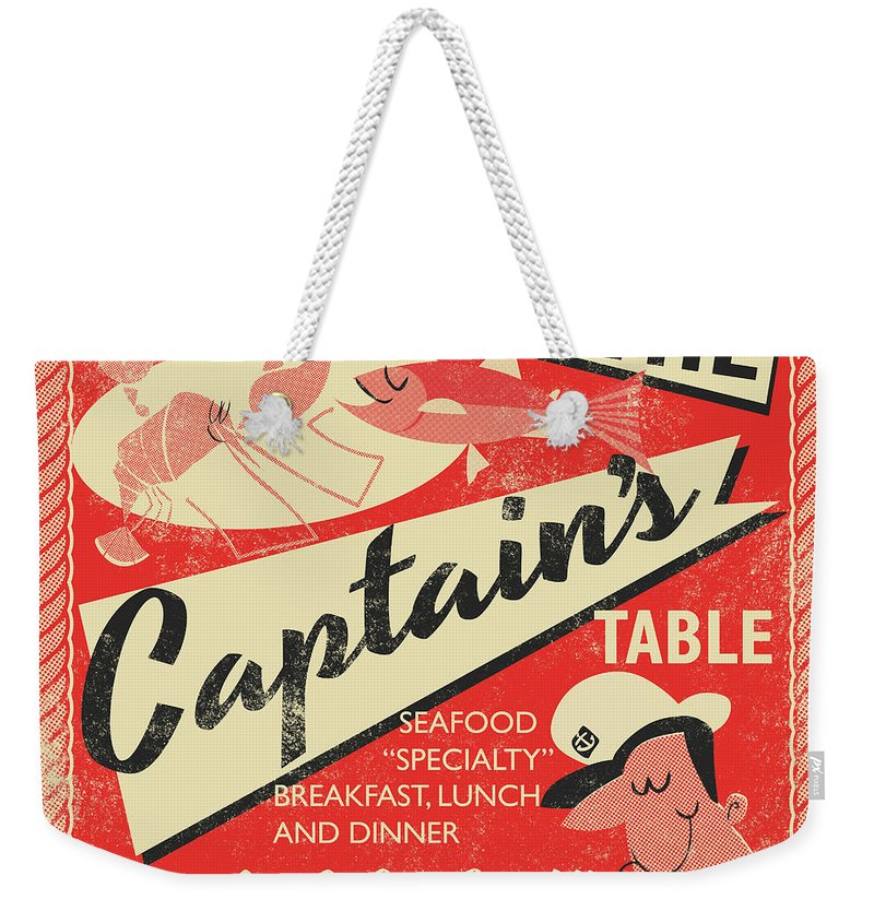 Fish Weekender Tote Bag featuring the drawing The Captain's Table by Daviz Industries