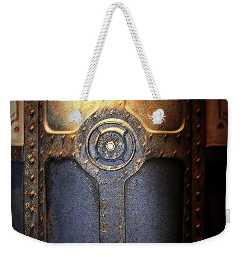 Nautical Weekender Tote Bag featuring the photograph The Cargo Hatch by Nadalyn Larsen