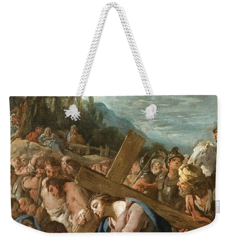 Jean-francois Detroy Weekender Tote Bag featuring the painting The Carrying Of The Cross by Jean-Francois Detroy