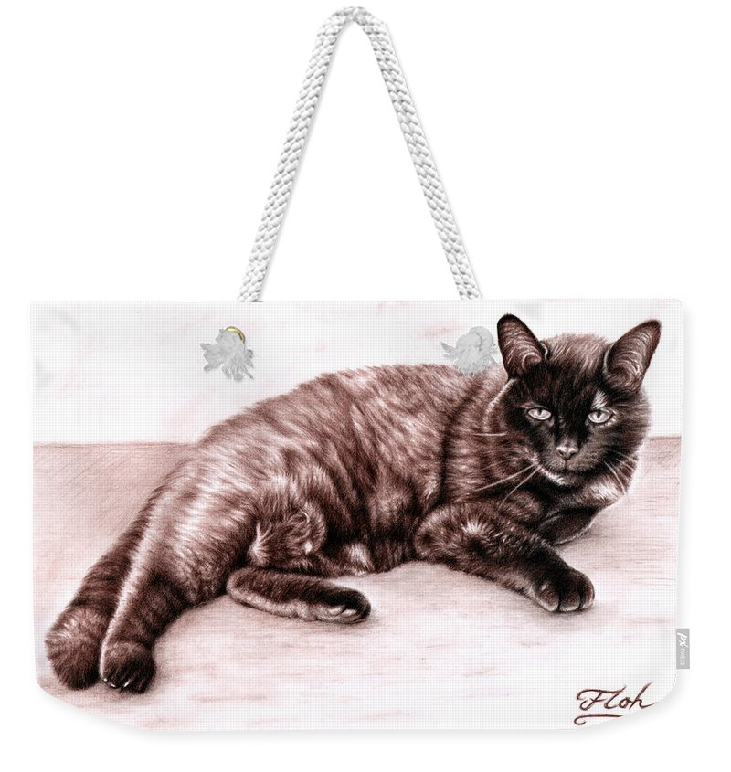Cat Weekender Tote Bag featuring the drawing The Cat by Nicole Zeug