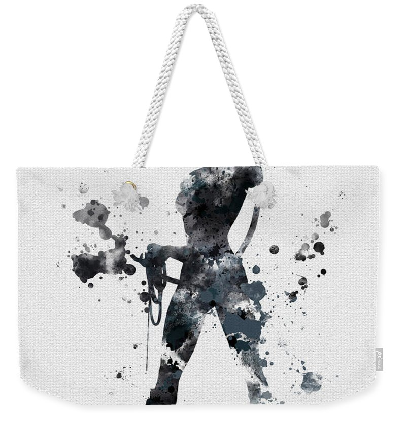 Catwoman Weekender Tote Bag featuring the mixed media The Cat by My Inspiration
