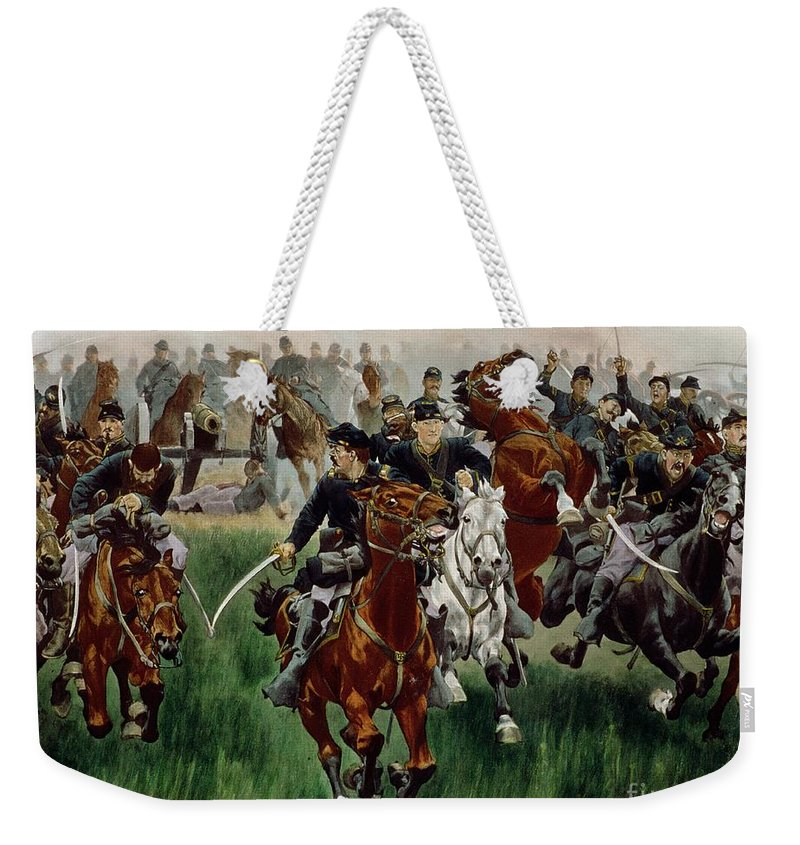 Weekender Tote Bag featuring the painting The Cavalry by WT Trego