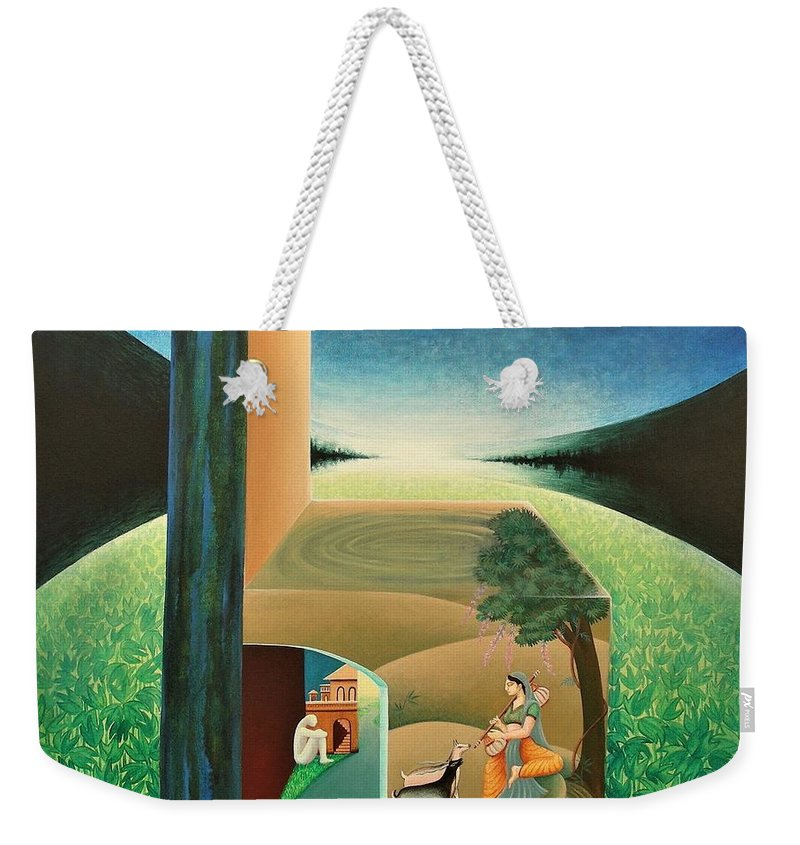 Romantic Weekender Tote Bag featuring the painting The Chair - A by Raju Bose