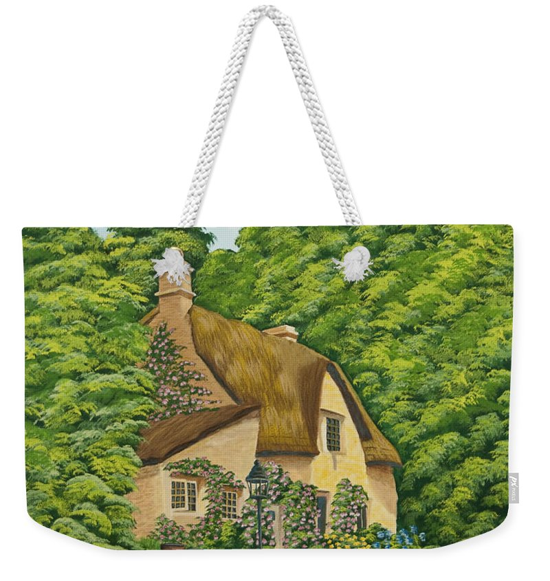 Cottage Weekender Tote Bag featuring the painting The Charm Of Wiltshire by Charlotte Blanchard