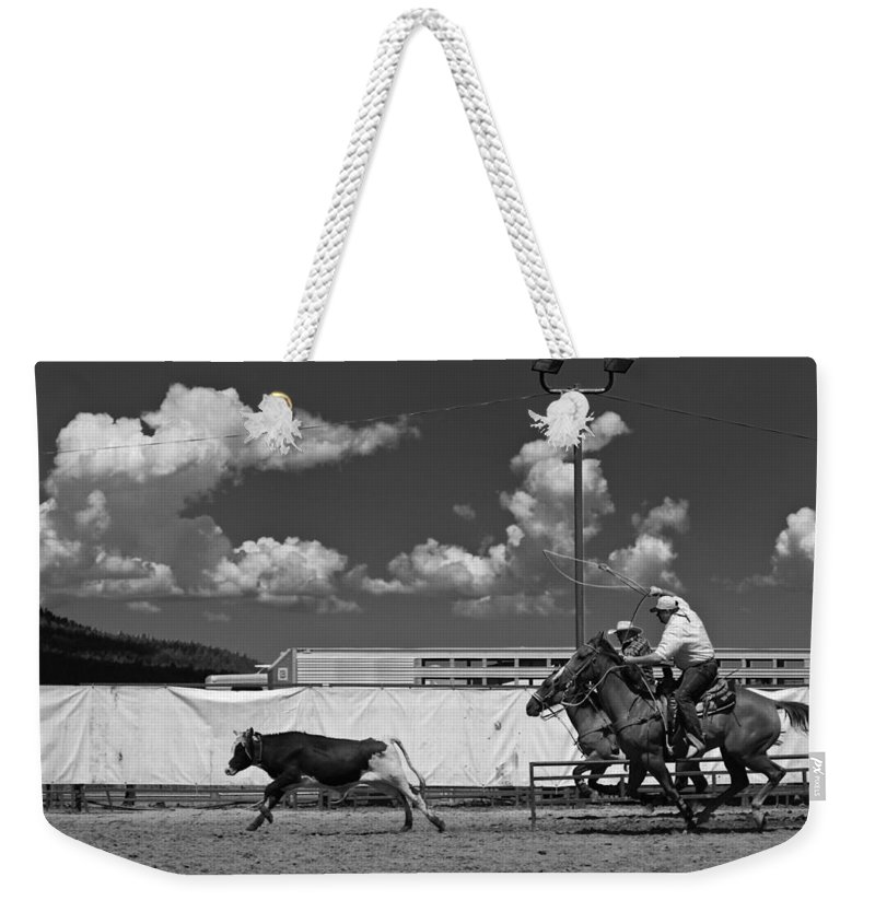 Calf Weekender Tote Bag featuring the photograph The Chase For Time by Scott Sawyer