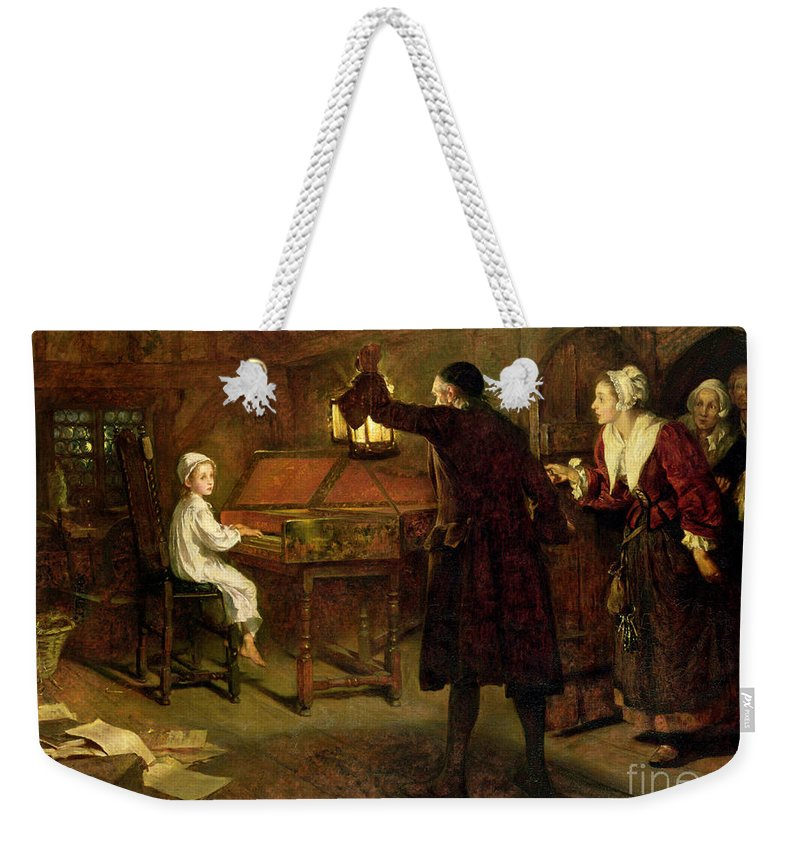 The Child Handel Weekender Tote Bag featuring the painting The Child Handel Discovered By His Parents by Margaret Isabel Dicksee