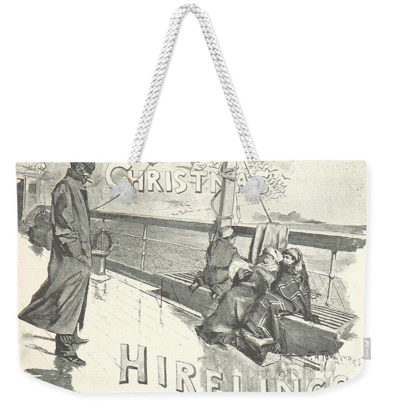 Title Weekender Tote Bag featuring the drawing The Christmas Hirelings by R Muirhead Art