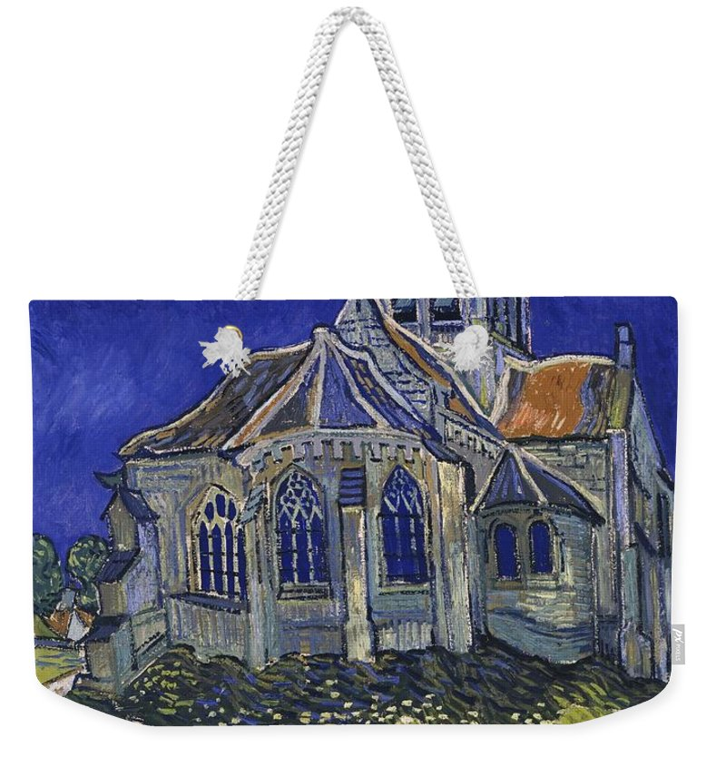 Vincent Van Gogh Weekender Tote Bag featuring the painting The Church At Auvers by Van Gogh