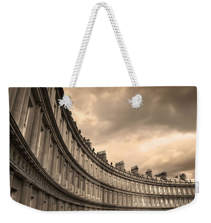 Bath Weekender Tote Bag featuring the photograph The Circus Bath England by Mal Bray