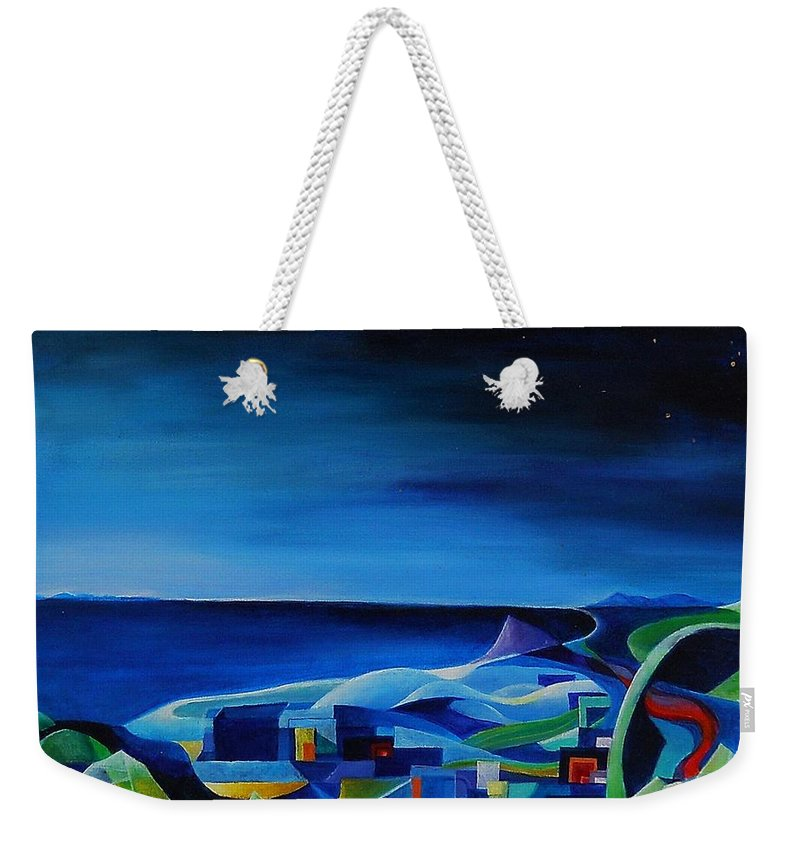 Genova Weekender Tote Bag featuring the painting The City At The Sea by Wolfgang Schweizer