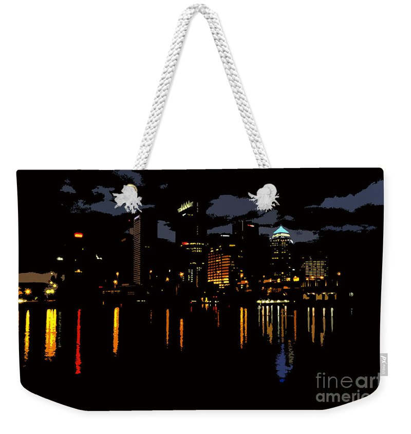 Tampa Florida Weekender Tote Bag featuring the photograph The City Dark by David Lee Thompson