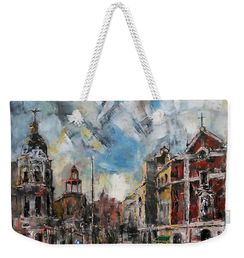 Cityscape Weekender Tote Bag featuring the painting The City Touched By The Sunset by Stefano Popovski