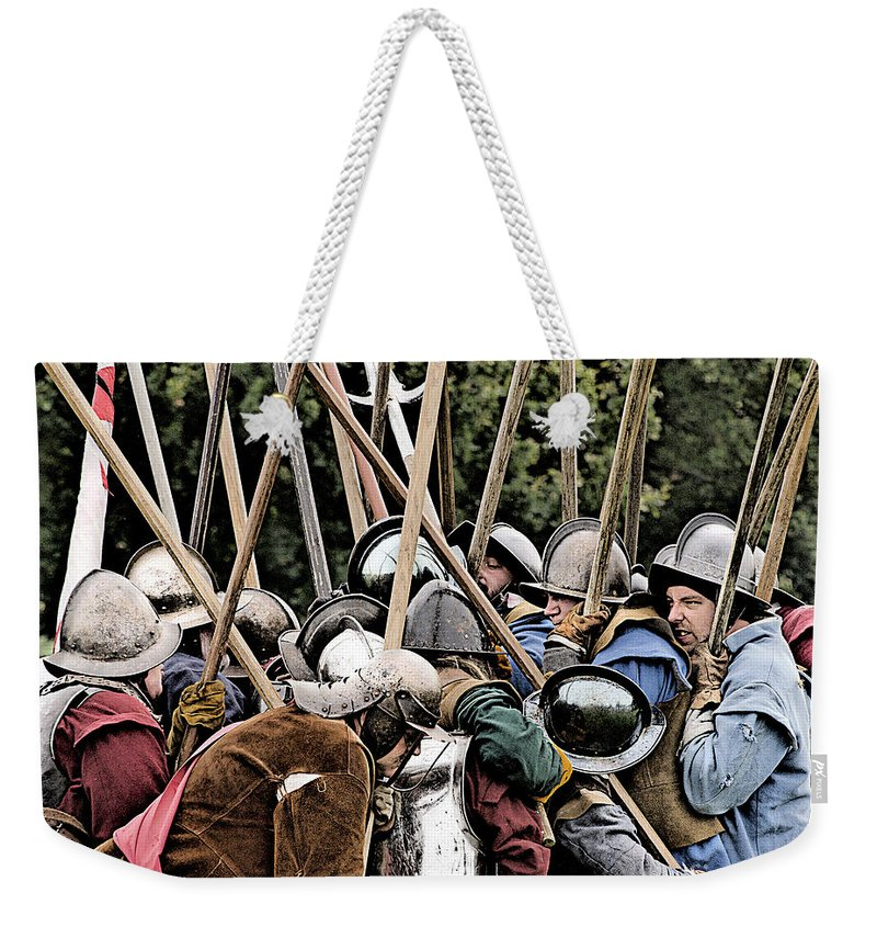 Civil War Weekender Tote Bag featuring the photograph The Clash Of The Pikemen by Linsey Williams