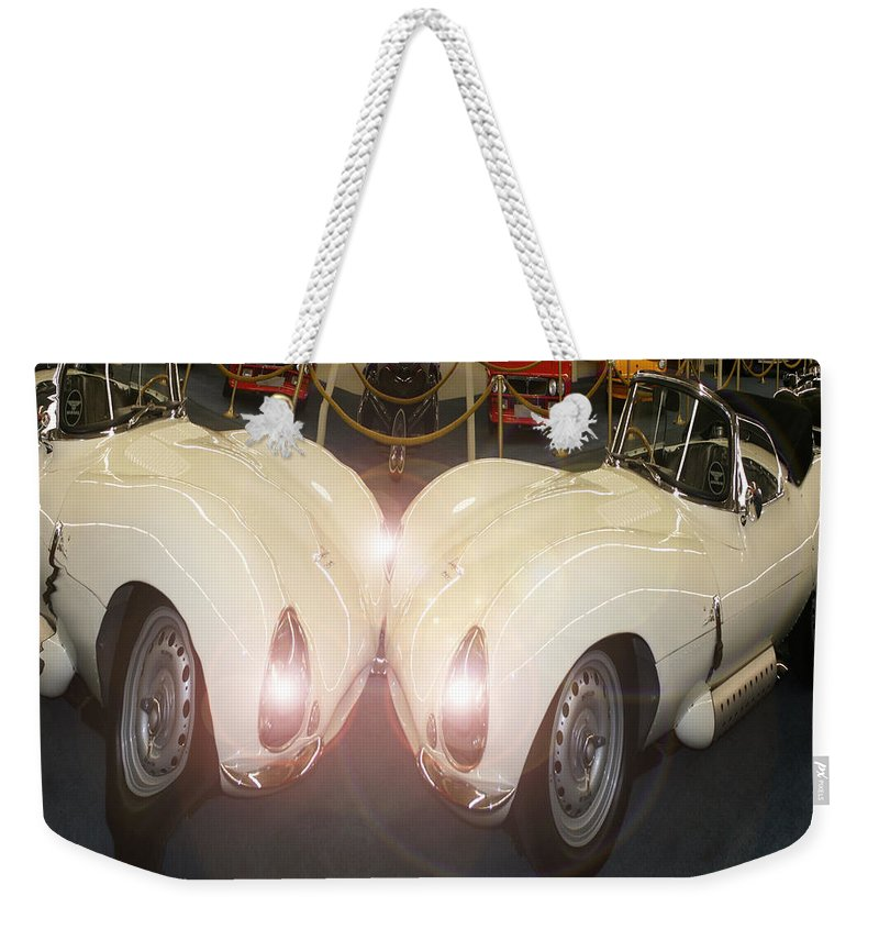 Car Classic Automobile Antique Vehicle Sports Car Photo Weekender Tote Bag featuring the photograph The Classic 2 by Andrea Lawrence