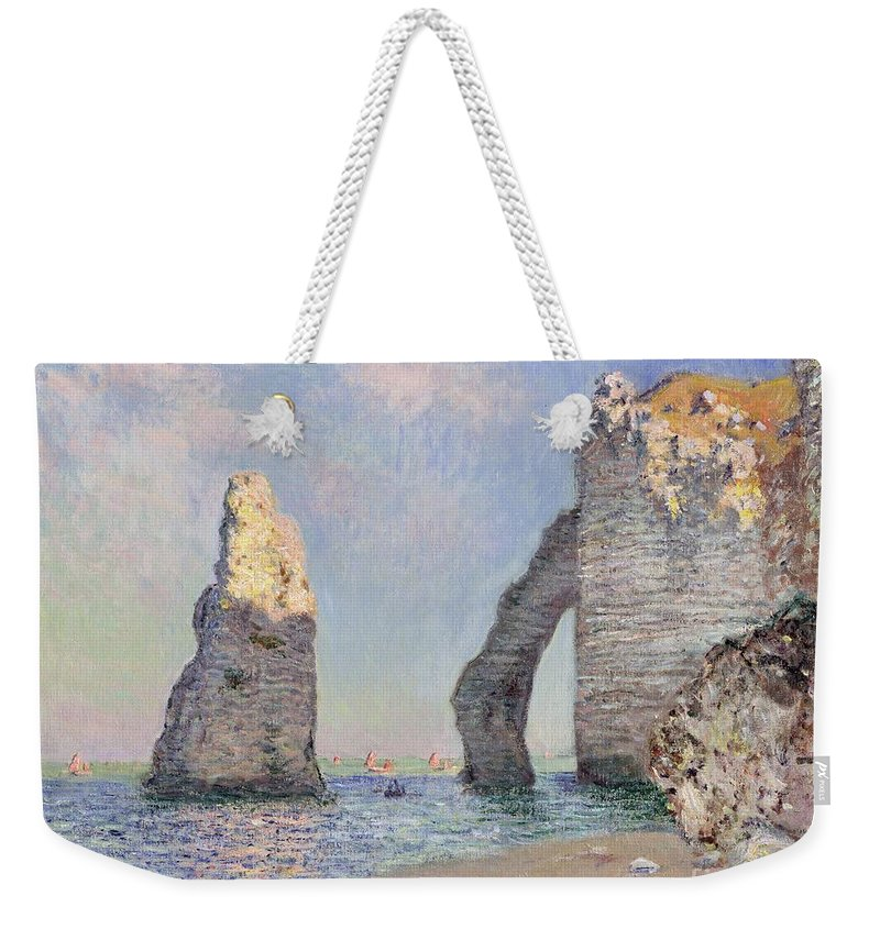The Cliffs At Etretat Weekender Tote Bag featuring the painting The Cliffs At Etretat by Claude Monet