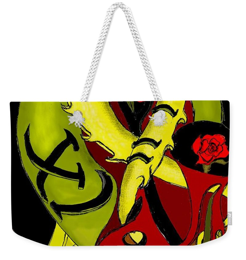Clock Weekender Tote Bag featuring the digital art The Clock by Helmut Rottler