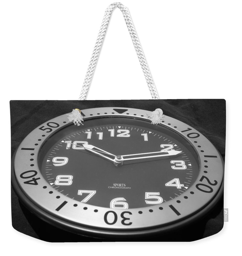 Black And White Weekender Tote Bag featuring the photograph The Clock by Rob Hans