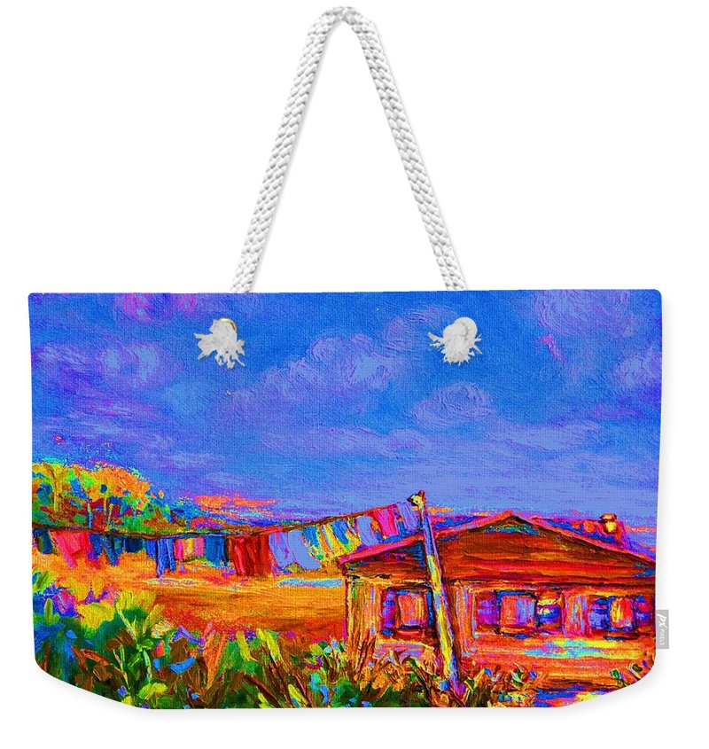 Clothesline Scenes Weekender Tote Bag featuring the painting The Clothesline by Carole Spandau