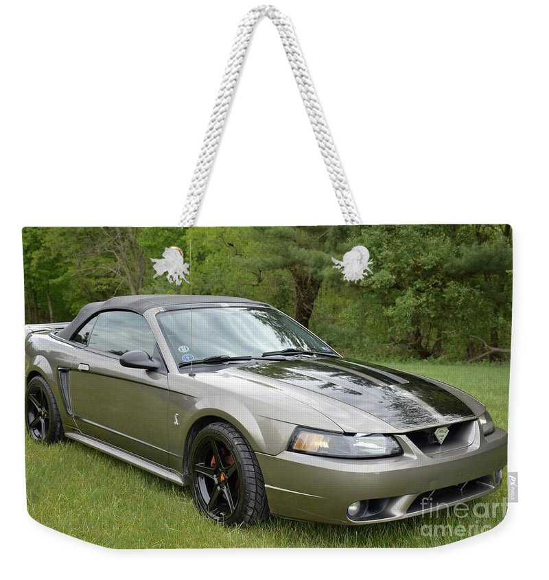 Car Weekender Tote Bag featuring the photograph The Cobra by Hughes Country Roads Photography