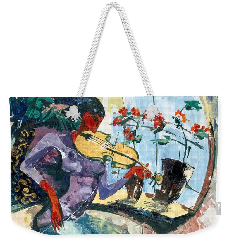 Music Weekender Tote Bag featuring the painting The Color Of Music by Elisabeta Hermann