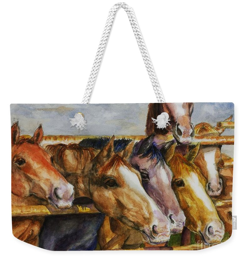 Horses Weekender Tote Bag featuring the painting The Colorado Horse Rescue by Frances Marino