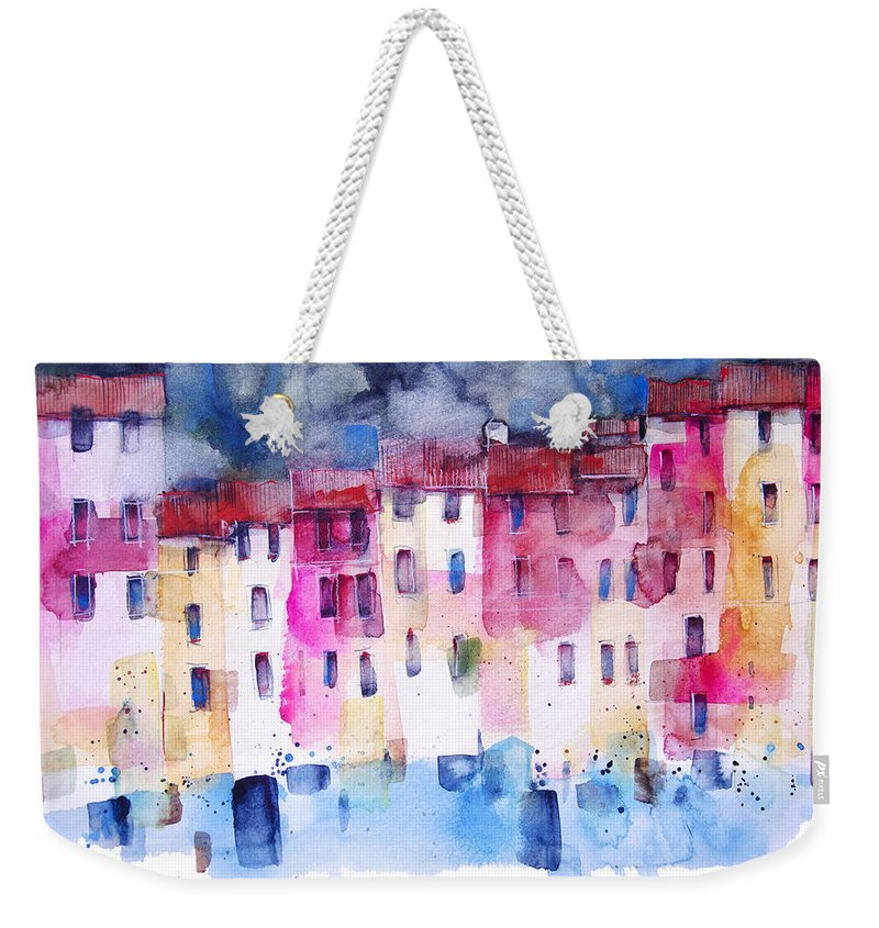 Architecture Weekender Tote Bag featuring the painting The coloured houses of Portofino by Alessandro Andreuccetti