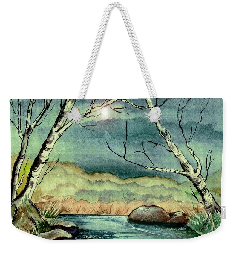 Watercolor Weekender Tote Bag featuring the painting The Coming Storm by Brenda Owen