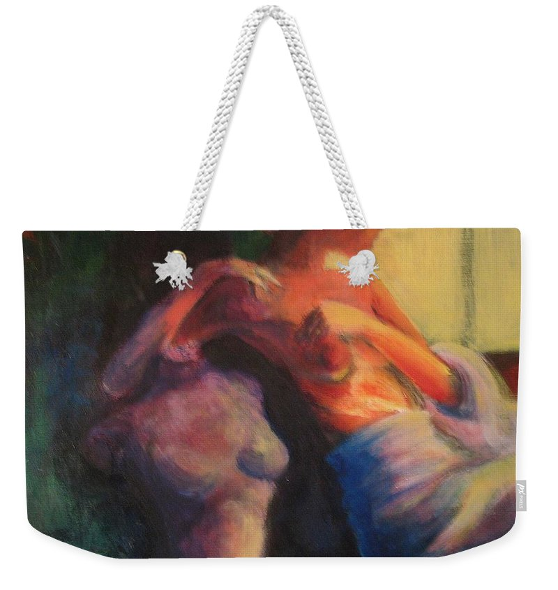 Bright Weekender Tote Bag featuring the painting The Confidante by Jason Reinhardt