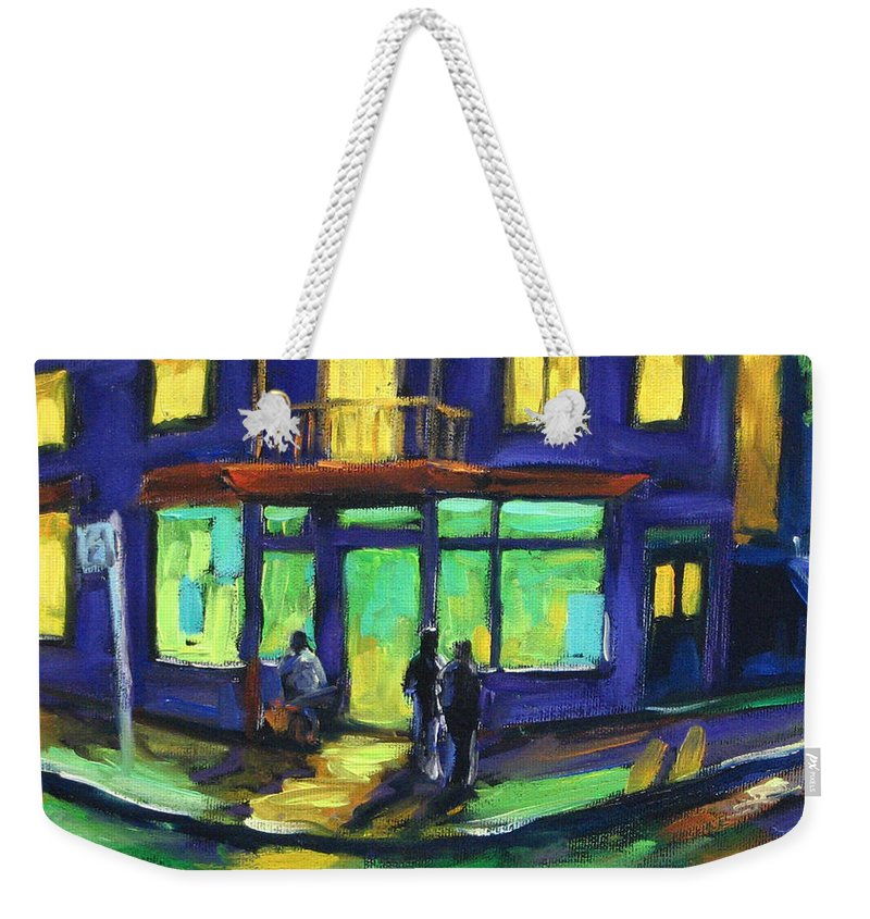 Town Weekender Tote Bag featuring the painting The Corner Store by Richard T Pranke