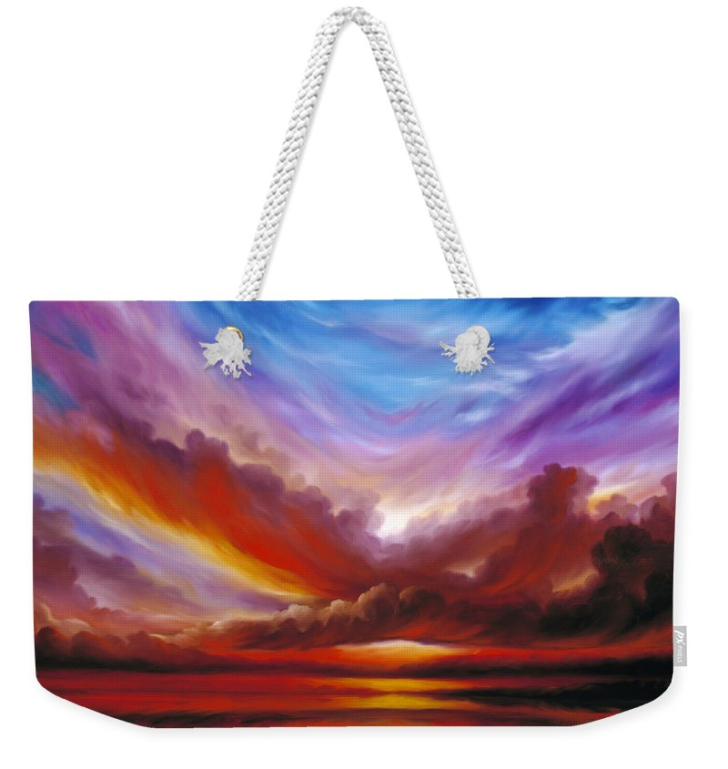 Skyscape Weekender Tote Bag featuring the painting The Cosmic Storm II by James Christopher Hill