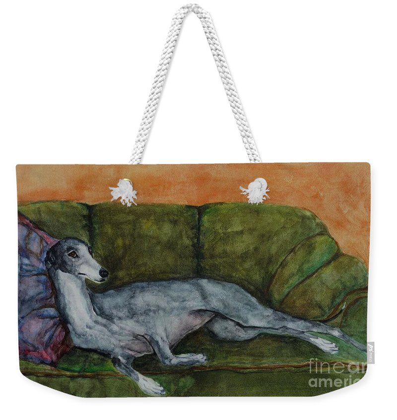 Greyhounds Weekender Tote Bag featuring the painting The Couch Potatoe by Frances Marino