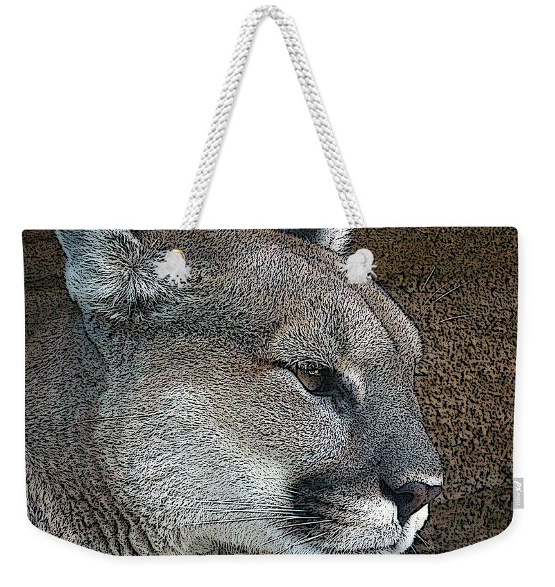 Mountain Lion Weekender Tote Bag featuring the photograph The Cougar by Ernie Echols