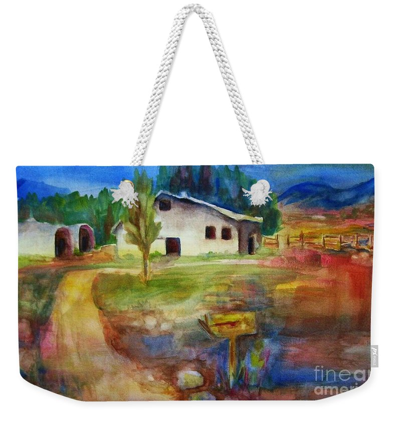 Country Barn Weekender Tote Bag featuring the painting The Country Barn by Frances Marino