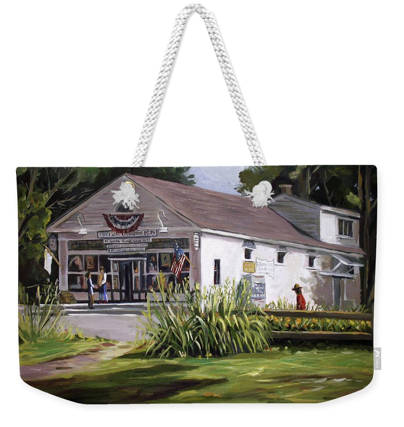 Buildings Weekender Tote Bag featuring the painting The Country Store by Nancy Griswold