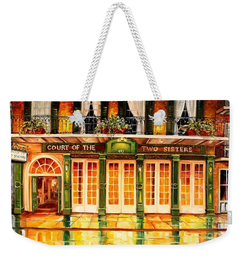 New Orleans Weekender Tote Bag featuring the painting The Court Of Two Sisters On Royal by Diane Millsap