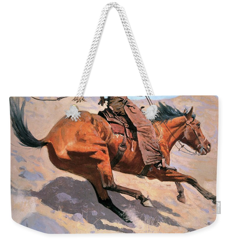 Cowboy Weekender Tote Bag featuring the painting The Cowboy by Frederic Remington