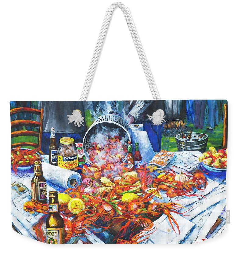 New Orleans Art Weekender Tote Bag featuring the painting The Crawfish Boil by Dianne Parks