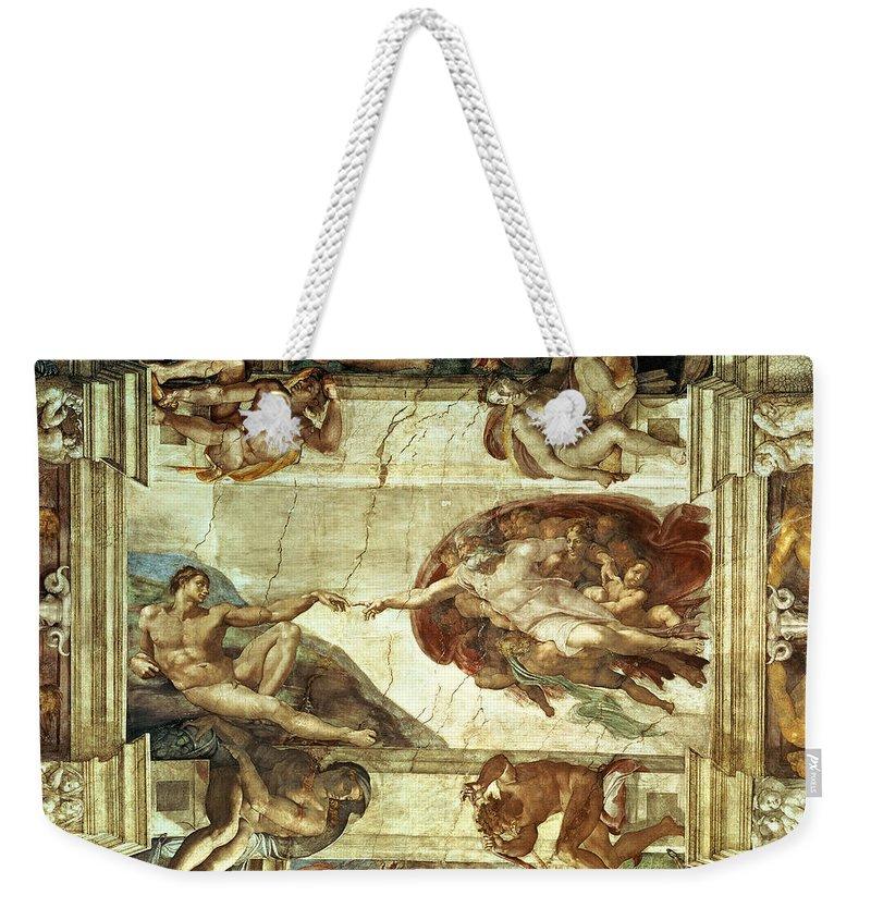 The Creation Of Adam Weekender Tote Bag featuring the painting The Creation Of Adam by Michelangelo