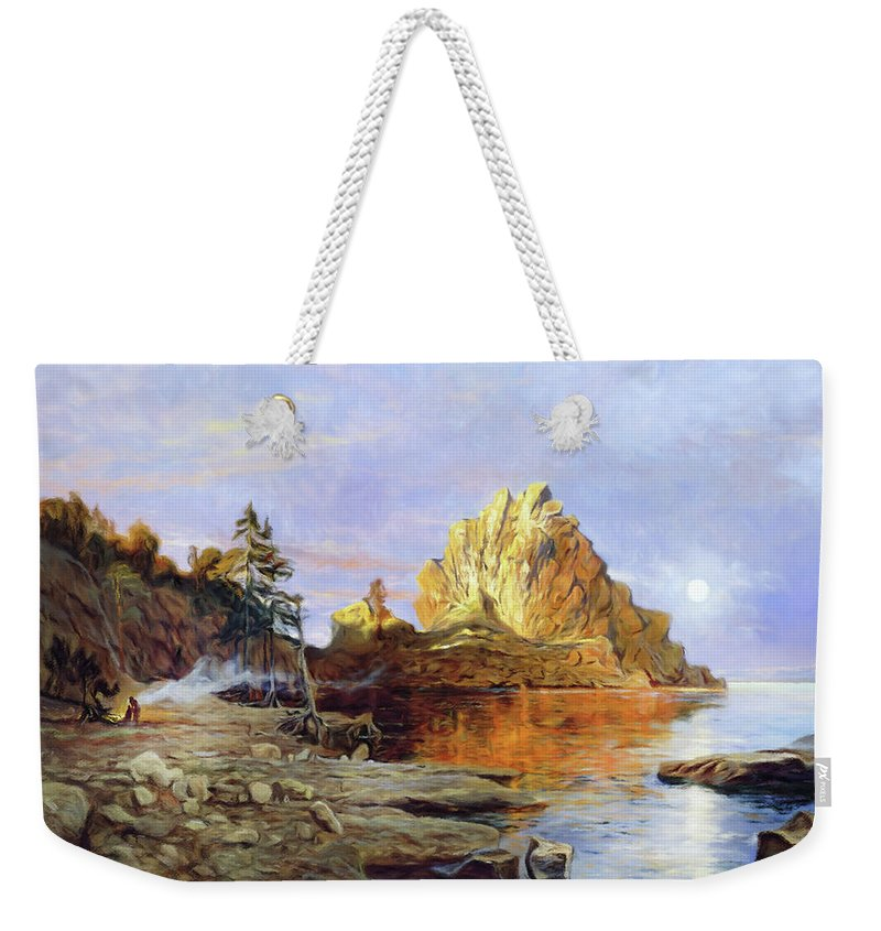 The Crest Of Rock Impressionism Weekender Tote Bag featuring the mixed media The Crest Of Rock Impressionism by Georgiana Romanovna