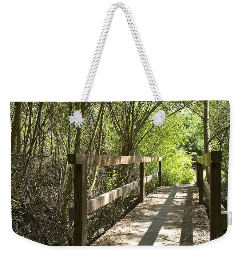 Wood Bridge Weekender Tote Bag featuring the photograph The Crossing by Kelley King