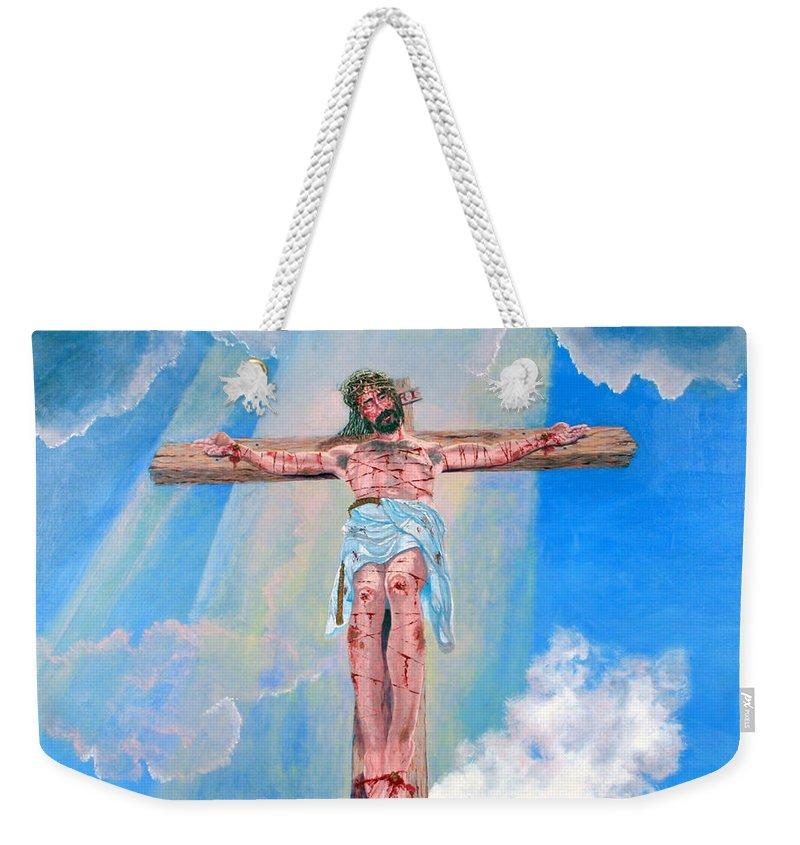 Christian Weekender Tote Bag featuring the painting The Crucifixion Daytime by Stan Hamilton