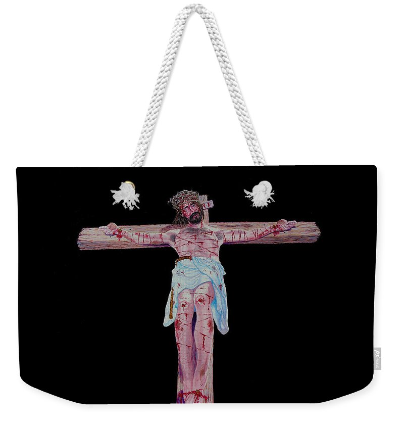 Crucifixion Weekender Tote Bag featuring the painting The Crucifixion by Stan Hamilton
