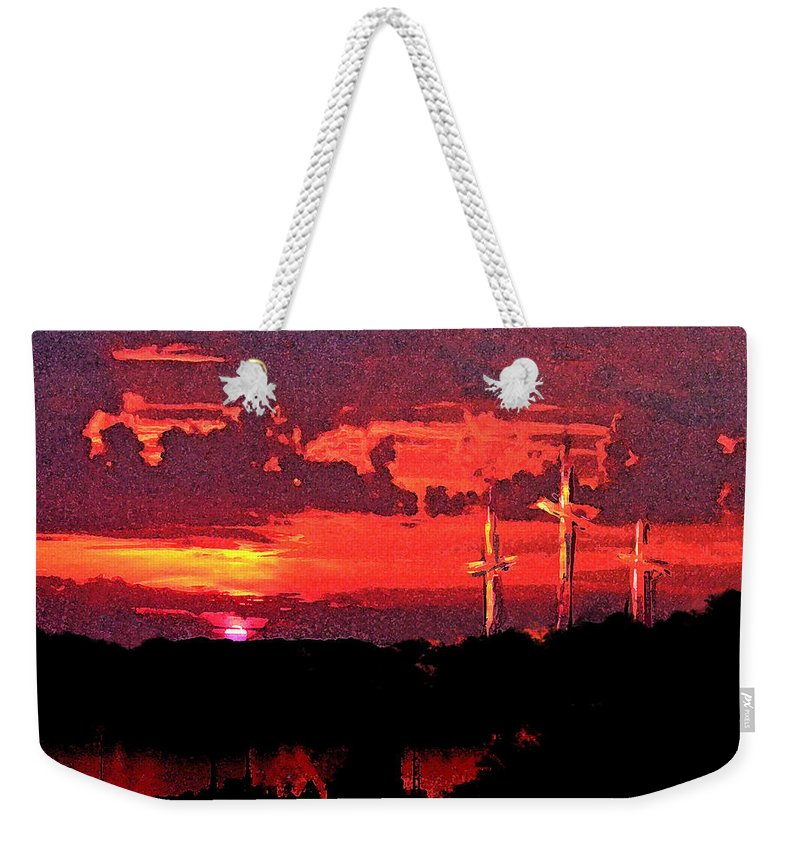Abstract Weekender Tote Bag featuring the painting The Crucifixtion by Rachel Christine Nowicki