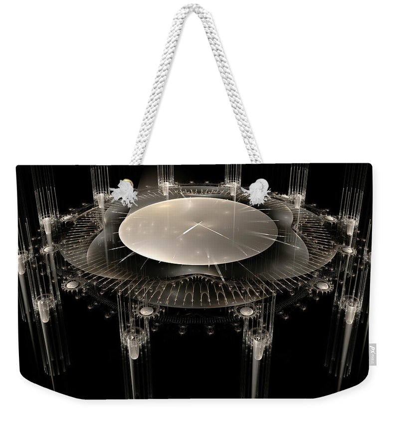 Fractal Weekender Tote Bag featuring the digital art The Crystal Clock by Richard Ortolano